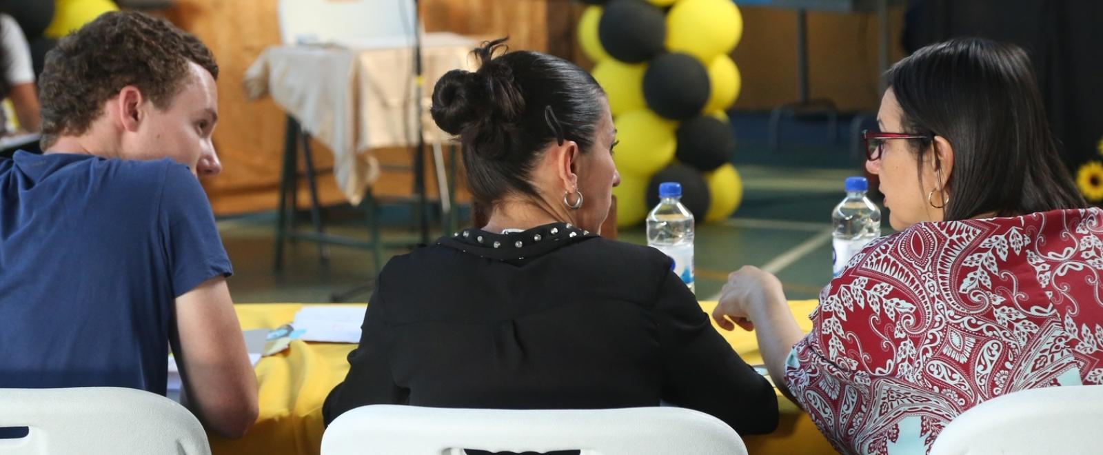 Spanish language teacher teaches her students basic grammar skills in Costa Rica